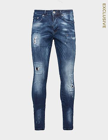 Represent Orange Paint Skinny Jeans