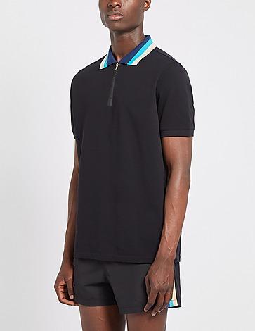 Sandbanks Tri-Coloured Zip Short Sleeve Polo Shirt