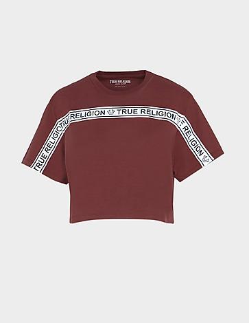 True Religion Ticker Tape Cropped T-Shirt
